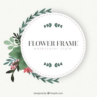 Frame do vintage com flores da aguarela