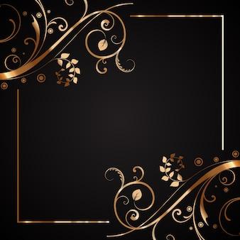 Frame floral decorativo em dourado e preto
