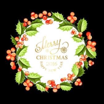 Frame luxuoso com uma grinalda do Natal