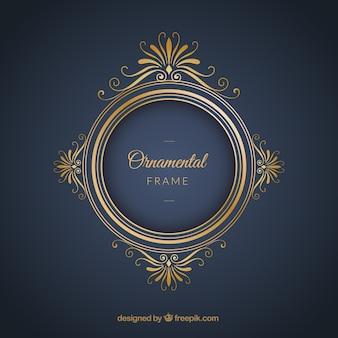 Frame luxuoso sobre um fundo azul