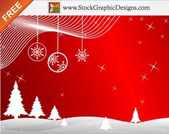 Freebie Inverno Vector fundo vermelho com Árvores de Natal