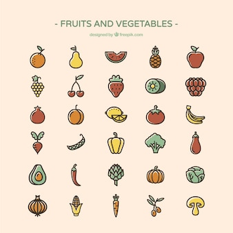 Frutas e vegetais ícones
