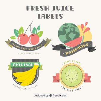 frutas planas etiquetas com fitas