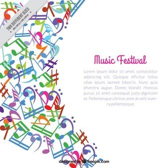 Fundo abstrato colorido de notas musicais