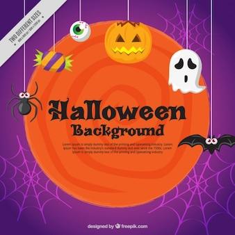 Fundo abstrato com elementos de Halloween