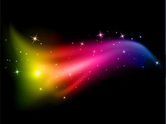Fundo abstrato com estrelas e cores do arco-íris