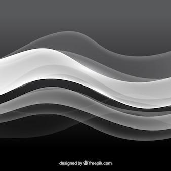 Fundo abstrato com formas onduladas em tons de cinza
