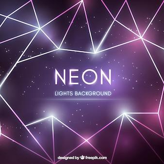 Fundo abstrato com luzes de néon geométricas