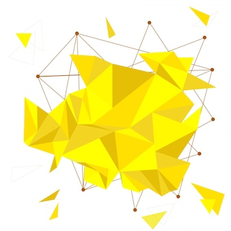 Fundo abstrato com triângulos amarelos, conceito de baixo teor de poliéster.