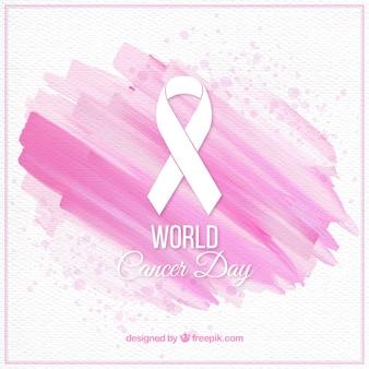 Fundo abstrato da aguarela com fita Dia Mundial do Câncer