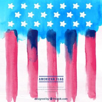 Fundo abstrato da bandeira americana no estilo da aguarela