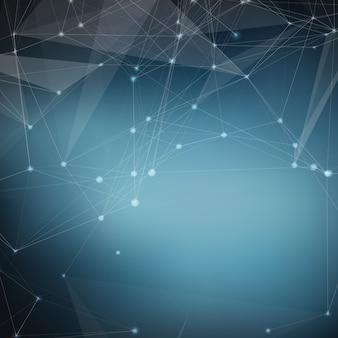 Fundo abstrato da malha azul do vetor. Pontos cósmicamente conectados e polígonos que voam no espaço. Restos voadores. Cartão futurista de estilo tecnológico. Linhas, pontos, círculos e aviões. Design futurista.