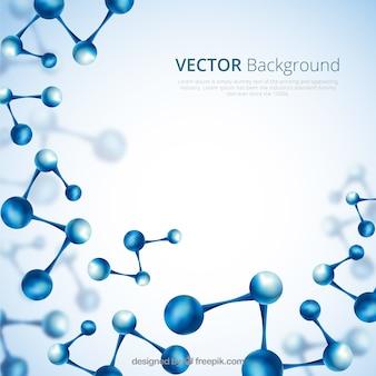 Fundo abstrato de moléculas azuis