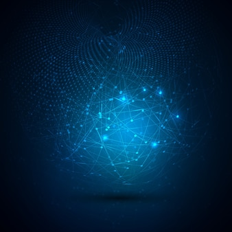 Fundo abstrato de tecnologia global com pontos de conexão