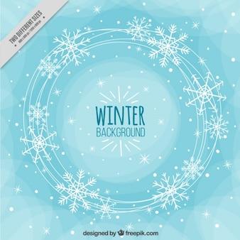 Fundo abstrato do inverno com flocos de neve
