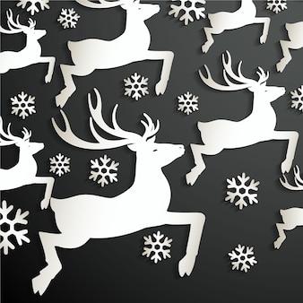 Fundo abstrato papel com veados e floco de neve