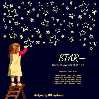 Fundo agradável do desenho da menina estrelas