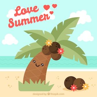 Fundo, agradável, palma, árvore, cocos