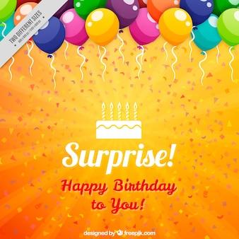 Fundo alaranjado aniversário com balões coloridos