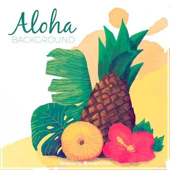 Fundo Aloha com flores de abacaxi e aquarela