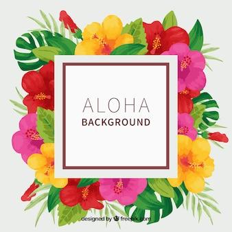 Fundo Aloha com flores de aguarela tropical