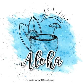 Fundo Aloha com uma bebida de coco