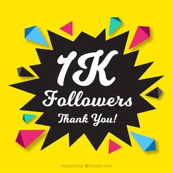 Fundo amarelo com formas abstratas de seguidores de 1k