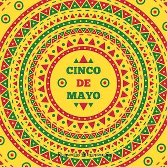 Fundo amarelo com formas geométricas para cinco de mayo