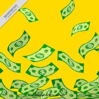 Fundo amarelo com notas de banco
