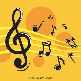 Fundo amarelo com notas musicais
