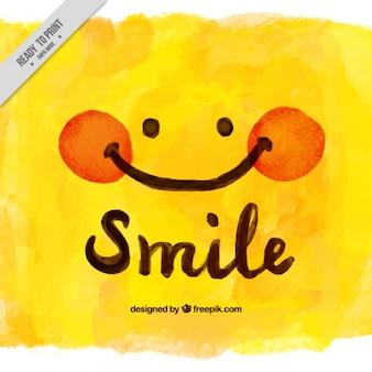 Fundo amarelo da aguarela com lindo rosto sorridente