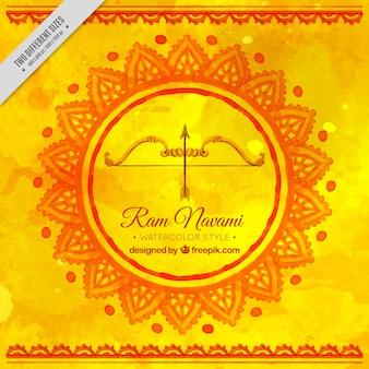 Fundo amarelo da aguarela com ram Navami curva festiva
