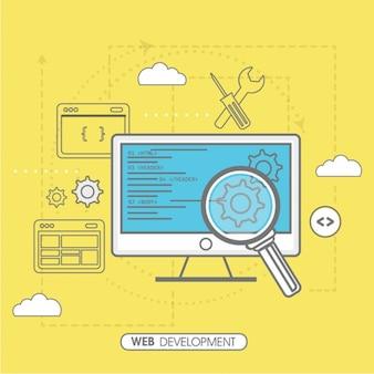 Fundo amarelo de desenvolvimento web