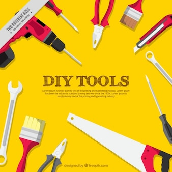 Fundo amarelo de ferramentas de carpintaria