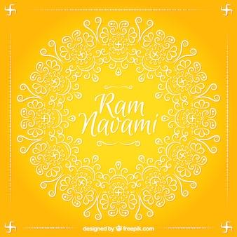 fundo amarelo Ram Navami com formas ornamentais