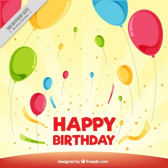 Fundo aniversário fantástico com balões e confetti