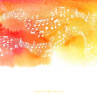 Fundo aquarela com pentagrama e notas musicais