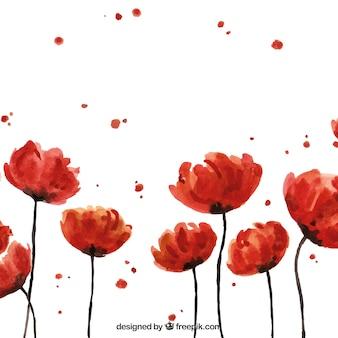 Fundo artístico com flores de aguarela