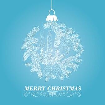 Fundo azul agradável com uma esfera do Natal