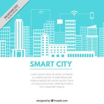 Fundo azul claro com uma cidade tecnológica