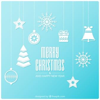 Fundo azul claro de itens de Natal no design plano