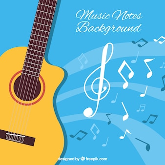 Fundo azul com guitarra acústica e notas musicais