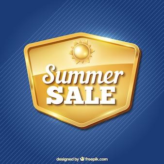 Fundo azul com insígnias douradas de vendas de verão