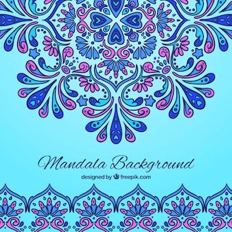 Fundo azul com mandala e detalhes roxos