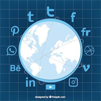 Fundo azul com mapa de mundo e redes sociais ícones