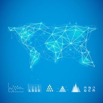Fundo azul com mapa do mundo e gráficos