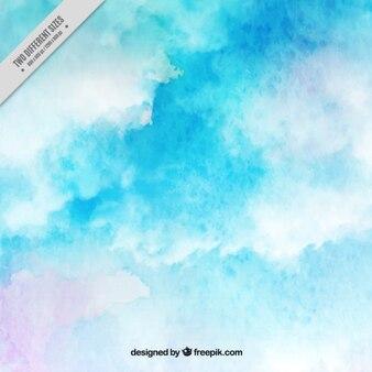 fundo azul da aguarela com nuvens