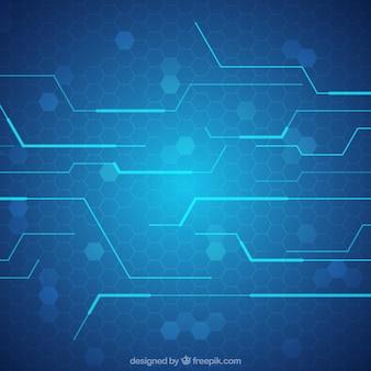 Fundo azul da tecnologia com linhas