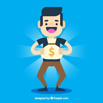 Fundo azul de menino feliz com saco de dinheiro brilhante