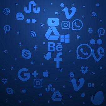 Fundo azul de mídia social